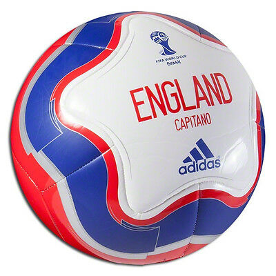 adidas WC World Cup 2014 Capitano ENGLAND  Soccer Ball New White / Red / Blue