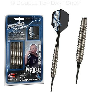 Phil Taylor Power Silverlight Brass Soft Tip Darts by Target - 18g - Silver