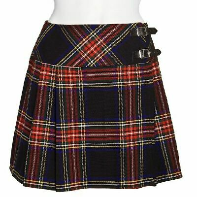 New Ladies Black Stewart Tartan Scottish Mini Billie Kilt Mod Skirt Sizes 6- 18