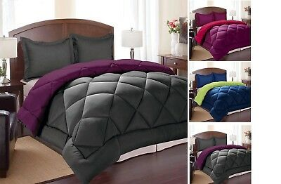 Goose Down Alternative Luxurious Reversible 3 Piece Comforter And Shams