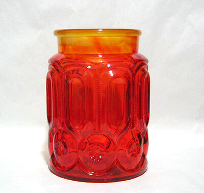 Vintage L.E. Smith Moon and Stars 2 Quart Canister Base, 7 3/4 Inches, Amberina