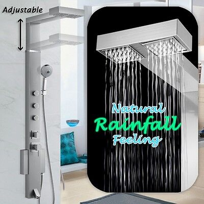 "59"" Stainless Steel Overhead Rainfall Shower Panel Tower Jets Spa Massage System"