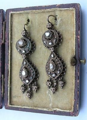 ANTIQUE OTTOMAN EMPIRE/TURKEY RED GOLD AND DIAMONDS EARRINGS 13.76 gr.