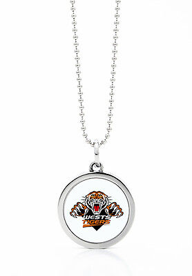 Wests Tigers NRL Round Style Pendant on a Silver Chain Necklace