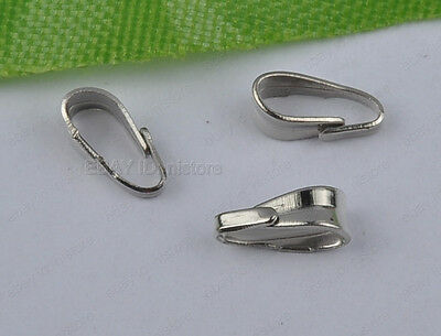 100Pcs dull silver Pendant Pinch Clip Bail Connector 6mm