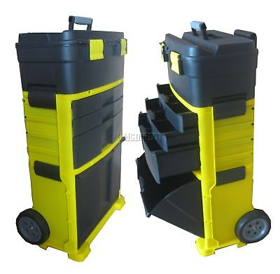 FoxHunter Yellow Mobile Roller Work Shop Chest Trolley Storage Tool Box Toolbox