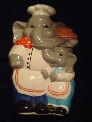 Stoneware Elephant and Baby Cookie Jar Chefs