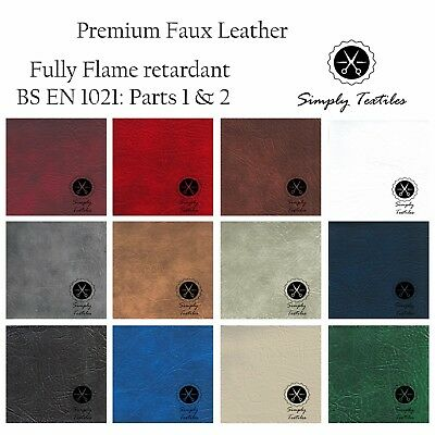 Premium Faux Leather, Leathercloth, Fire Resistant, Grained, Upholstery, Fabric
