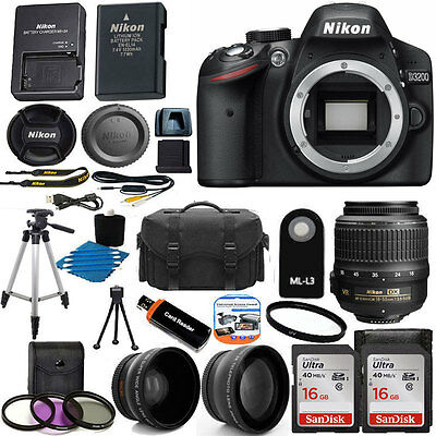 Nikon D3200 Digital SLR DSLR Camera +3 Lens 18-55 VR +24GB KIT & More Brand New