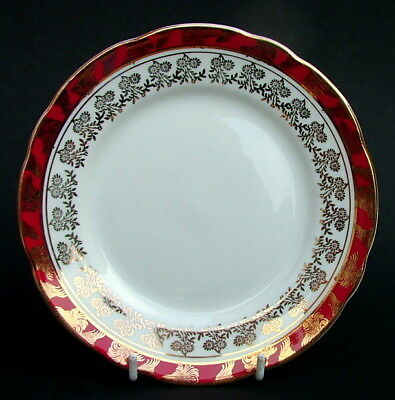 Vintage 1970's Royal Stafford Red Scrolls 8686 Pattern Side or Bread Plates 17cm