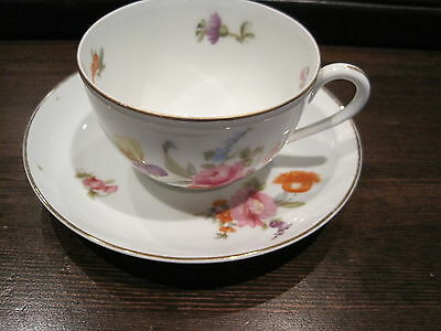 VINTAGE ANTIQUE KPM GERMANY PORCELAIN CUP AND SAUCER  FLOWER PATTERN