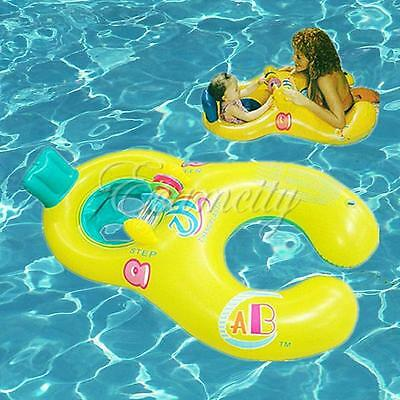Inflatable Float Raft Swimming Ring Mother & Baby Chair Kid's Seat Pool New