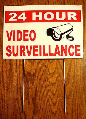 24 HOUR VIDEO SURVEILLANCE Coroplast Outdoor  YARD SIGN 8x12  with Stake   NEW