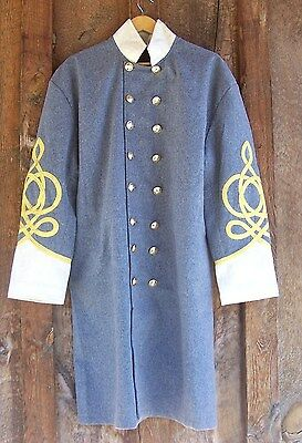 civil war confederate frock coat with 4 row braids and pleats creme 42