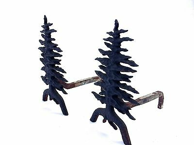 MARTIN STOVE & CO. Early 1900 Pine Tree Shaped Andirons