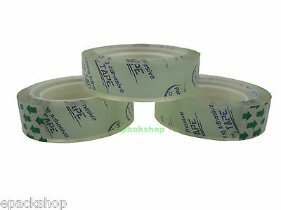 "10 Rolls Clear Stationery Adhesive Tape Sticky Sellotape 12mm x 15yard_1"" Core"