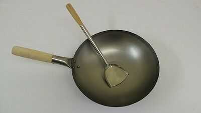 """14"""" Flat Bottom Carbon Steel Wok with Stainless Steel Turner."""
