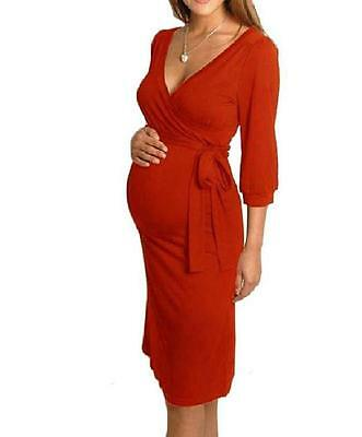 Women Maternity Dress V-Neck Pregnancy Clothes Nursing Dress Size 8 10 12 14 16