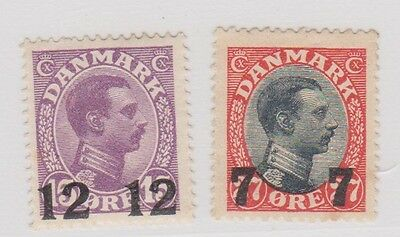(RW15) 1920 Denmark 7/27 &12/15ore surcharge stamps