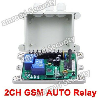 GSM-AUTO-DC 2CH Output GSM SMS Remote Control Relay Contact Switch w Time Delay