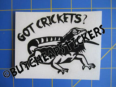 Got Crickets? Bearded Dragon Decal - Sticker 4x3 Any Color