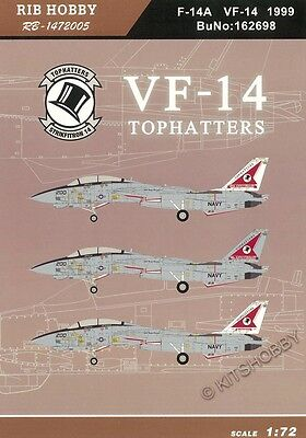 RIBHOBBY decal 1/72 F-14A VF-14 TOPHATTERS 80th Anniversary 1999