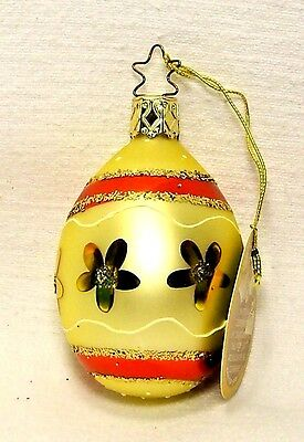 Inge's Christmas Heirlooms~Yellow/Red Easter Egg~Blown Glass Ornament~Germany