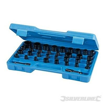 "35 Pc Impact Socket Set 1/2"" 3/8"" Drivers Wrench Air Metric Imperial Extension"