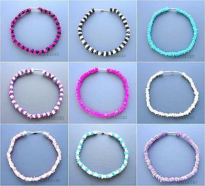 Puka Chip Shell Necklace Mixed Colors Choker Surfer Hawaiian Screw Clasp 18""