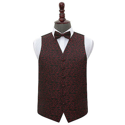 DQT Woven Swirl Patterned Black Burgundy Mens Wedding Waistcoat & Bow Tie Set