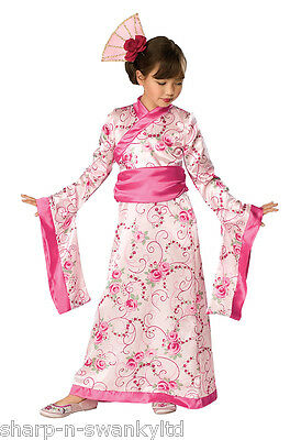 Girls Pink Chinese Oriental Japanese Princess Geisha Fancy Dress Costume Outfit