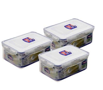 3 x LOCK & LOCK RECTANGULAR AIRTIGHT LUNCHBOX FOOD STORAGE CONTAINER 2.3L HPL825