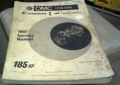 1967 OMC STERN DRIVE Factory Manual & Parts Book Evinrude Johnson - 185hp