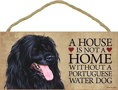 A House Is Not Home PORTUGUESE WATER DOG 5x10 Wood SIGN Plaque USA Made