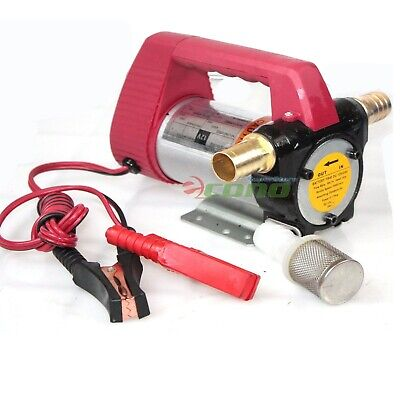 12 Volt Motor Self Priming Oil Fuel Transfer Extractor 12V Pump w/Brass Adapters