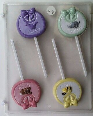 BABY CHRISTENING LOLLIPOP CLEAR PLASTIC CHOCOLATE CANDY MOLD B075