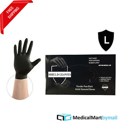 500 Industrial Disposable Powder & Latex Free Black Nitrile Gloves 3.5 Mil Large