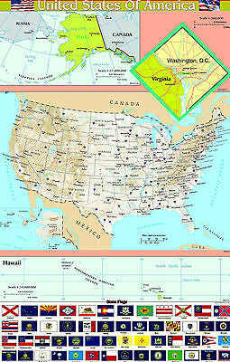 A2 laminated USA UNITED STATES of AMERICA  map wall chart poster  | FLAGS BOTTOM