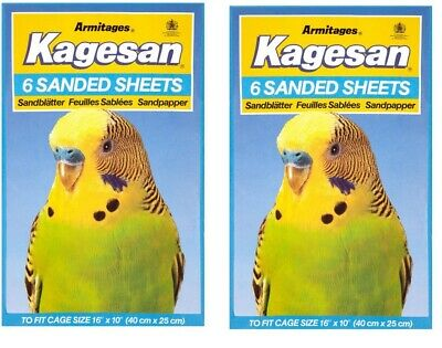 """Sand Sheets 16"""" x 10"""" 6 In Pack 40cm x 25cm Kagesan Budgie Finch Canary Armitage"""