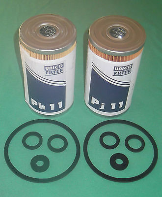 ZETOR TRACTOR FUEL FILTERS with ALL SEALS, 1x COARSE 93 1207, 1x FINE 93 1209