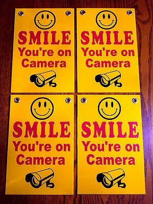 4 SMILE YOU/'RE ON CAMERA Coroplast  YARD SIGNS 6 x 9 w// Stakes  NEW Security yel