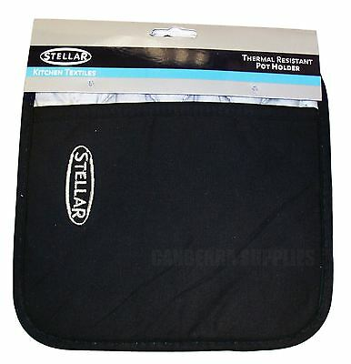 Stellar Pot Holder Oven Glove Mitt Trivet Thermal Lined - Black