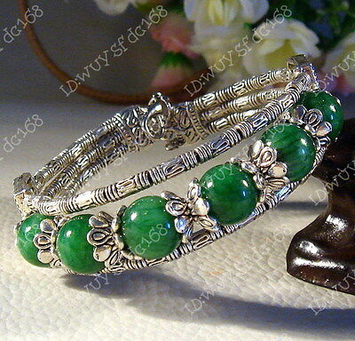 Fashion Tibet Jewelry Tibetan silver Malachite Beaded Bracelet Bangle A5076