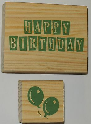 Lot of 2 RUBBER STAMPS HAPPY BIRTHDAY & BALLOONS Scrapbooking Crafts wood wooden
