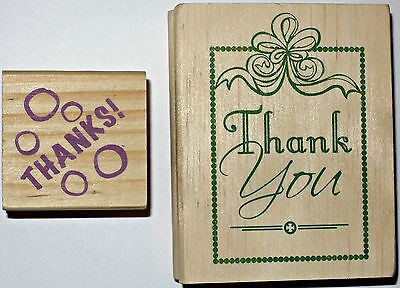 Lot of 2 Rubber Stamps THANK YOU & THANKS Scrapbooking Crafts wood wooden set