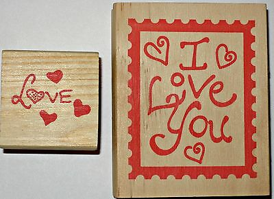 Lot of 2 New Rubber Stamps I LOVE YOU & LOVE Scrapbooking Crafts wood wooden set