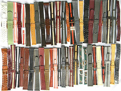 50x BULK LOT FLEURUS HAND-MADE FRENCH GENUINE LEATHER WATCH BANDS / STRAPS