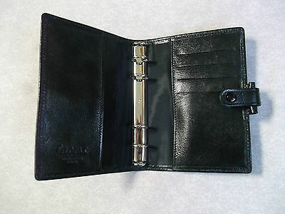 GENUINE FILOFAX KID LEATHER POCKET SIZE FILE BLACK DIARY ORGANISER NEW 15mm