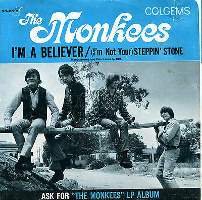 THE MONKEES, I'M A BELIEVER, ORIG; 1966 WITH PICTURE SLV