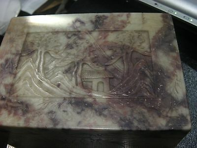 Nice ANTIQUE CHINESE CARVED SOAPSTONE BOX VILLAGE SCENE BEAUTY
